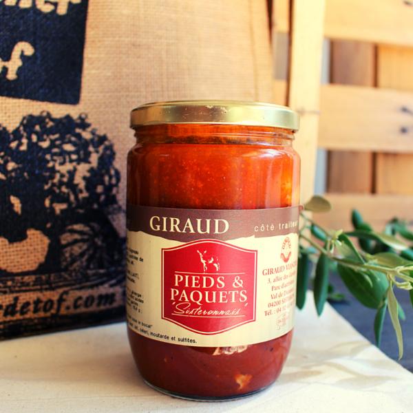 Pieds et Paquets Sisteronnais - Le pot de 800g. Tripes et pieds d'agneau à la sauce tomate. À faire réchauffer et déguster avec des pâtes Origine: Sisteron