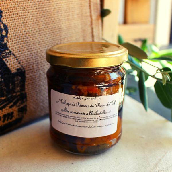 Trilogie de poivrons grillés et marinés à l'huile d'olive Lady's Jam - 220ml Fabriqué par LADY'S JAM avec les poivrons du jardin du Panier de Tof